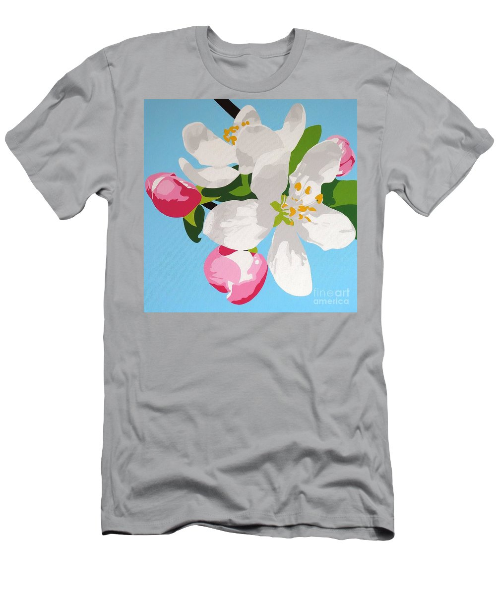 Springtime Apple Blossom Men's T-Shirt (Athletic Fit) featuring the painting Apple Blossom by Susan Porter