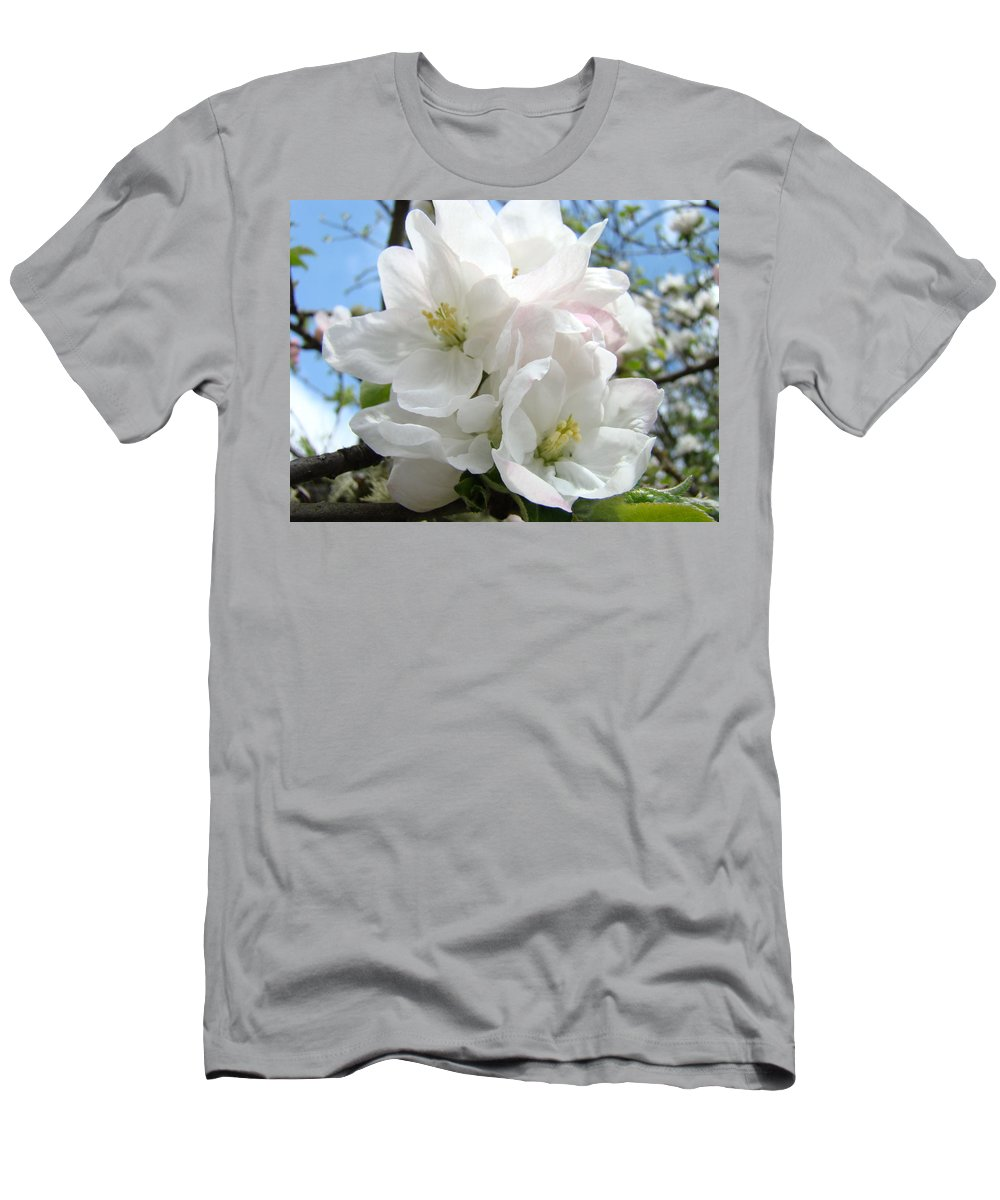 �blossoms Artwork� Men's T-Shirt (Athletic Fit) featuring the photograph Apple Blossoms Art Prints Giclee 48 Spring Apple Tree Blossoms Blue Sky Macro Flowers by Baslee Troutman