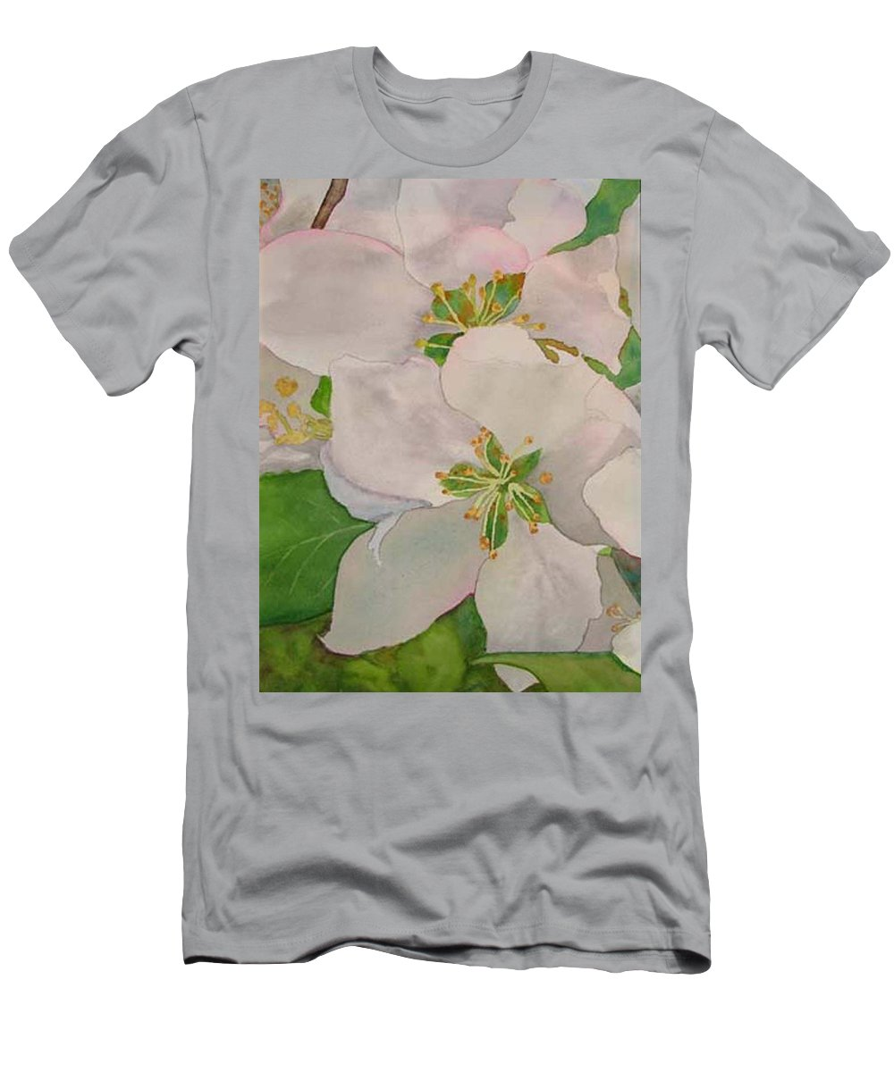Apple Blossoms Men's T-Shirt (Athletic Fit) featuring the painting Apple Blossoms by Sharon E Allen