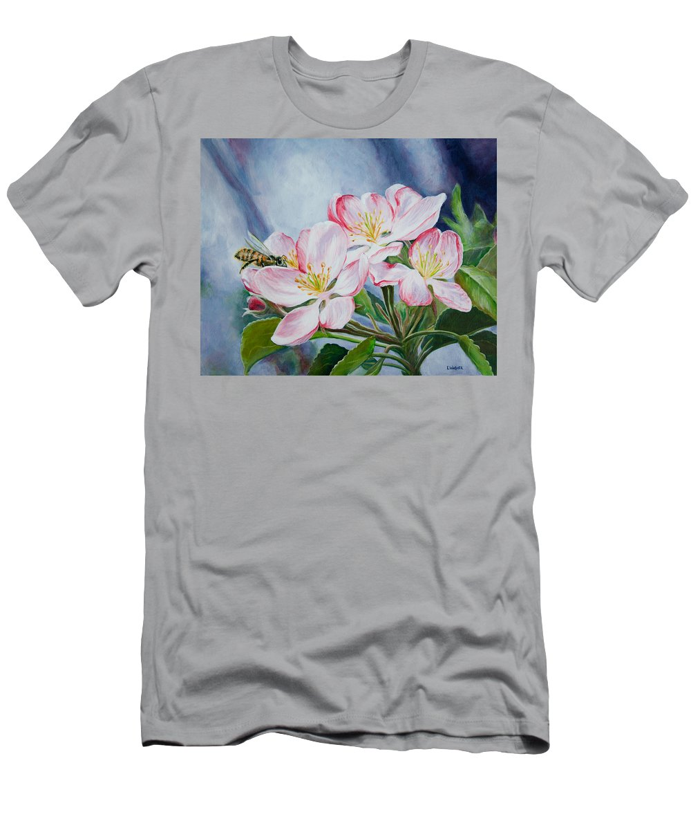 Apple Blossoms Men's T-Shirt (Athletic Fit) featuring the painting Apple Blossoms With Honeybee by Karl Wagner