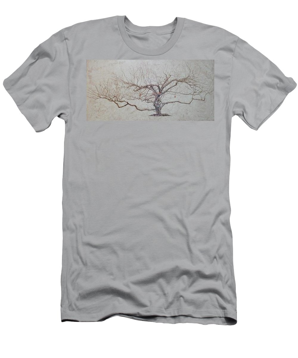 Apple Tree Men's T-Shirt (Slim Fit) featuring the painting Apple Tree In Winter by Leah Tomaino