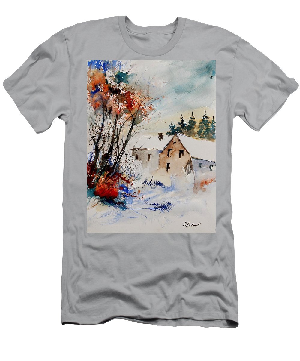 Winter Men's T-Shirt (Athletic Fit) featuring the painting Aqua 905070 by Pol Ledent