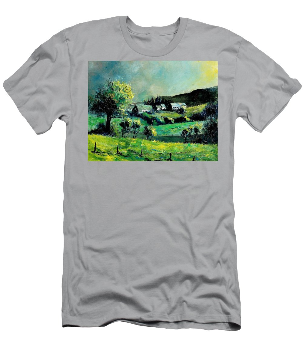 Spring Men's T-Shirt (Athletic Fit) featuring the painting Ardennes 79 by Pol Ledent