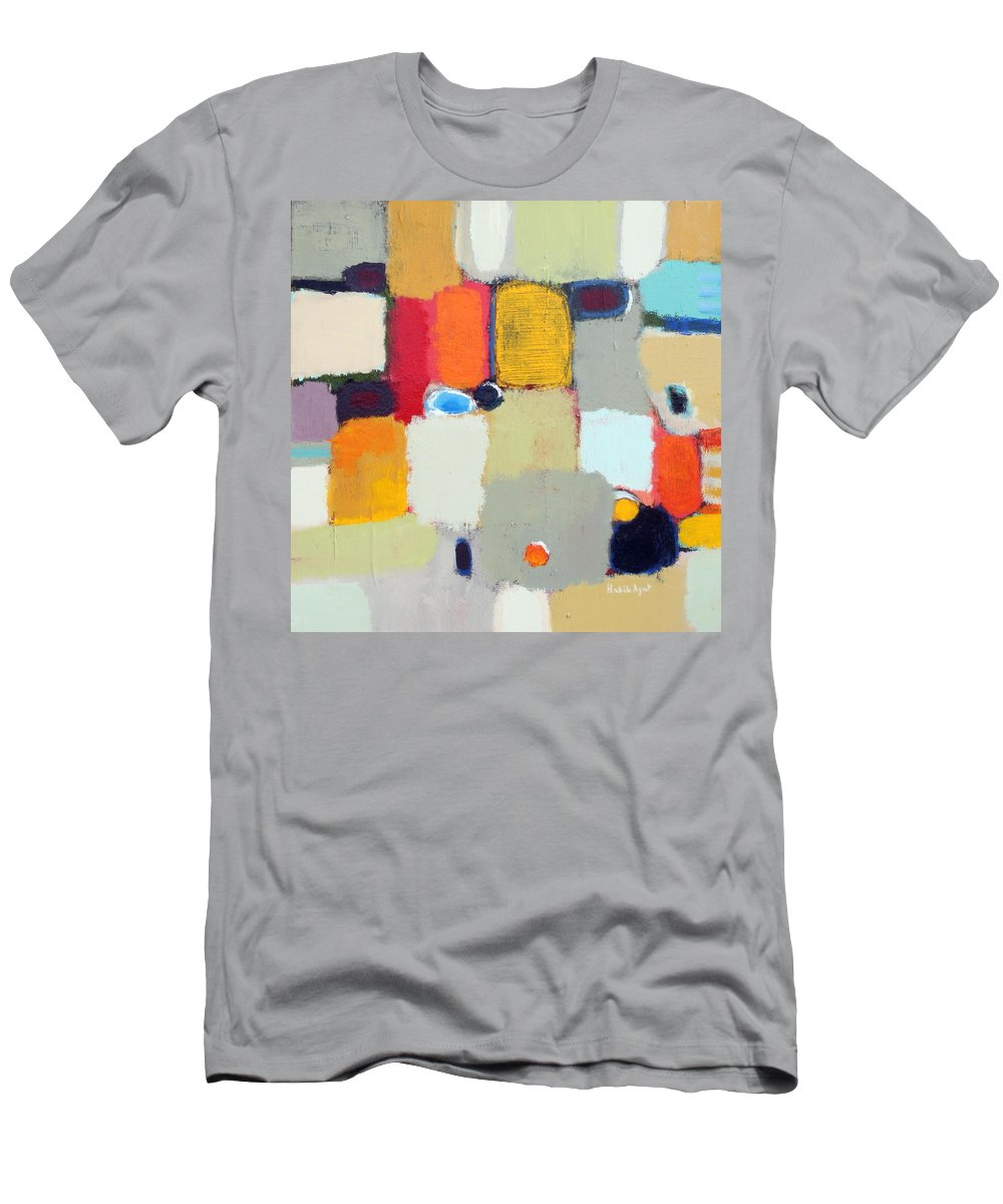 Peace Colors Abstract Modern Contemporary Men's T-Shirt (Athletic Fit) featuring the painting Areal View 2 by Habib Ayat