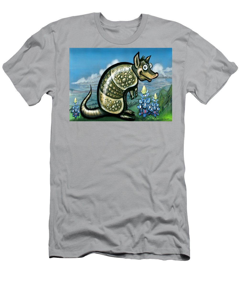 Armadillo Men's T-Shirt (Athletic Fit) featuring the painting Armadillo N Bluebonnets by Kevin Middleton