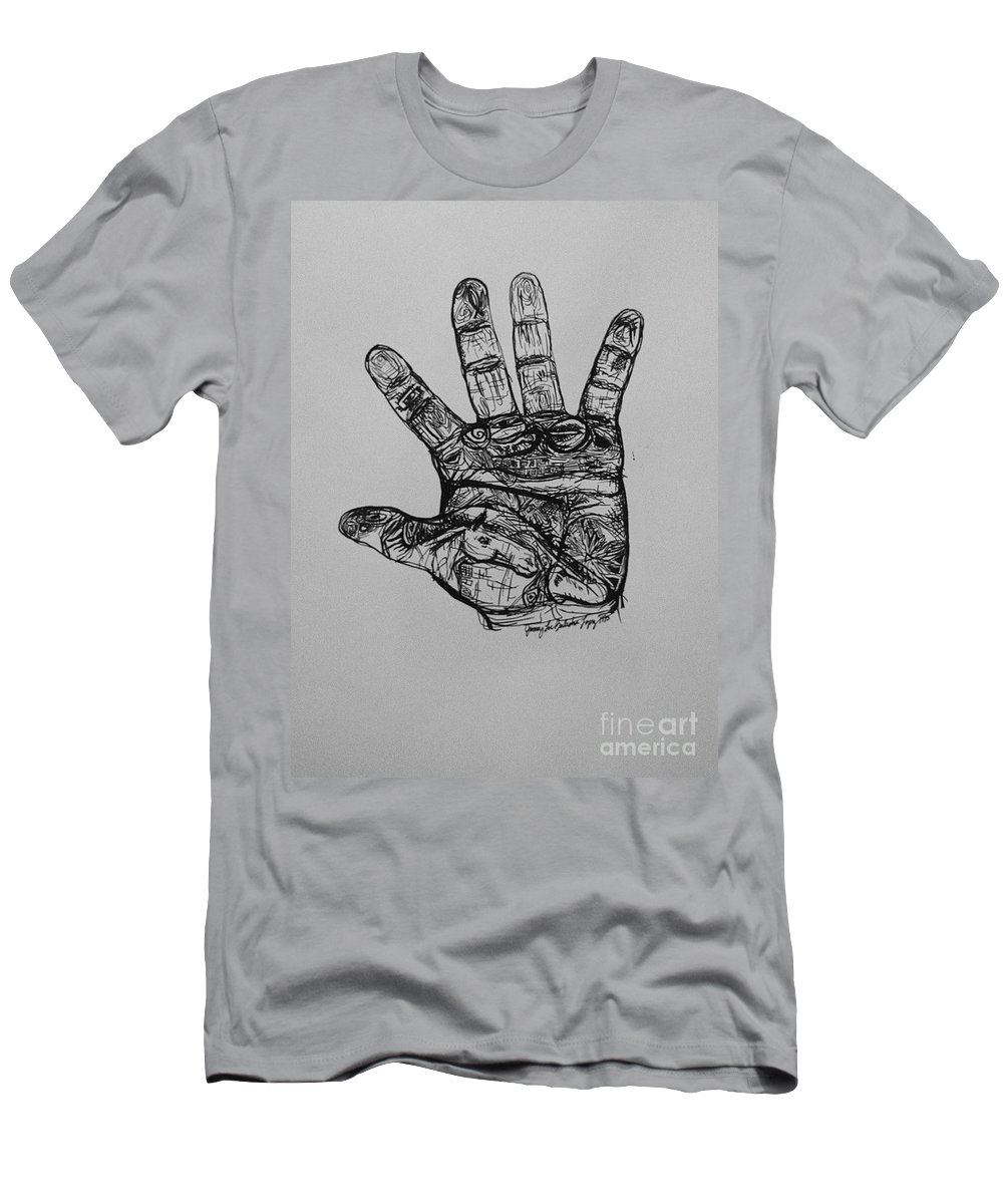 Hands Men's T-Shirt (Athletic Fit) featuring the drawing Artist Hand Variation I by Jamey Balester