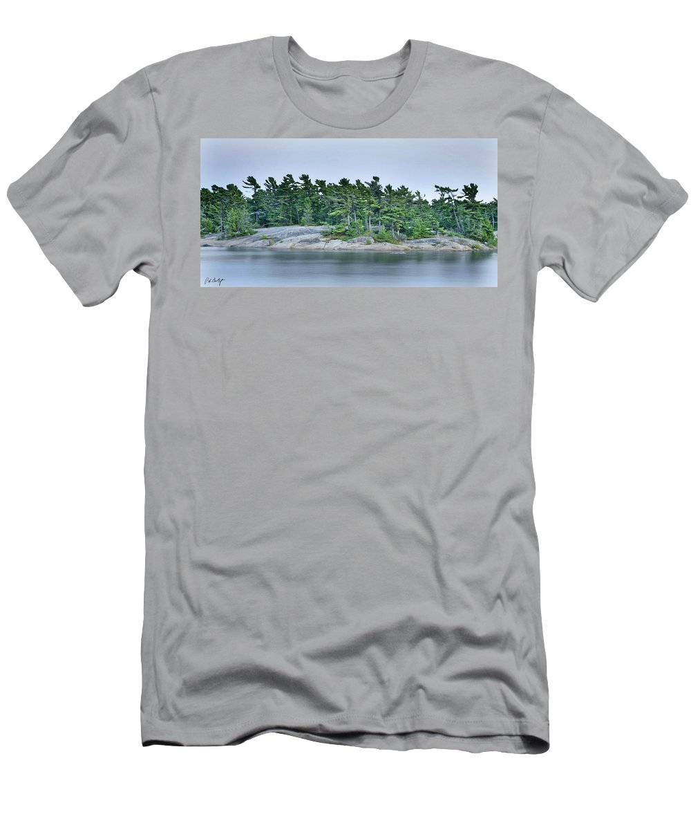 Canada Men's T-Shirt (Athletic Fit) featuring the photograph Artistic Granite And Trees by Phill Doherty