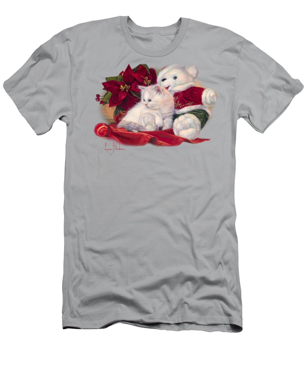 Cat Men's T-Shirt (Athletic Fit) featuring the painting Christmas Kitten by Lucie Bilodeau