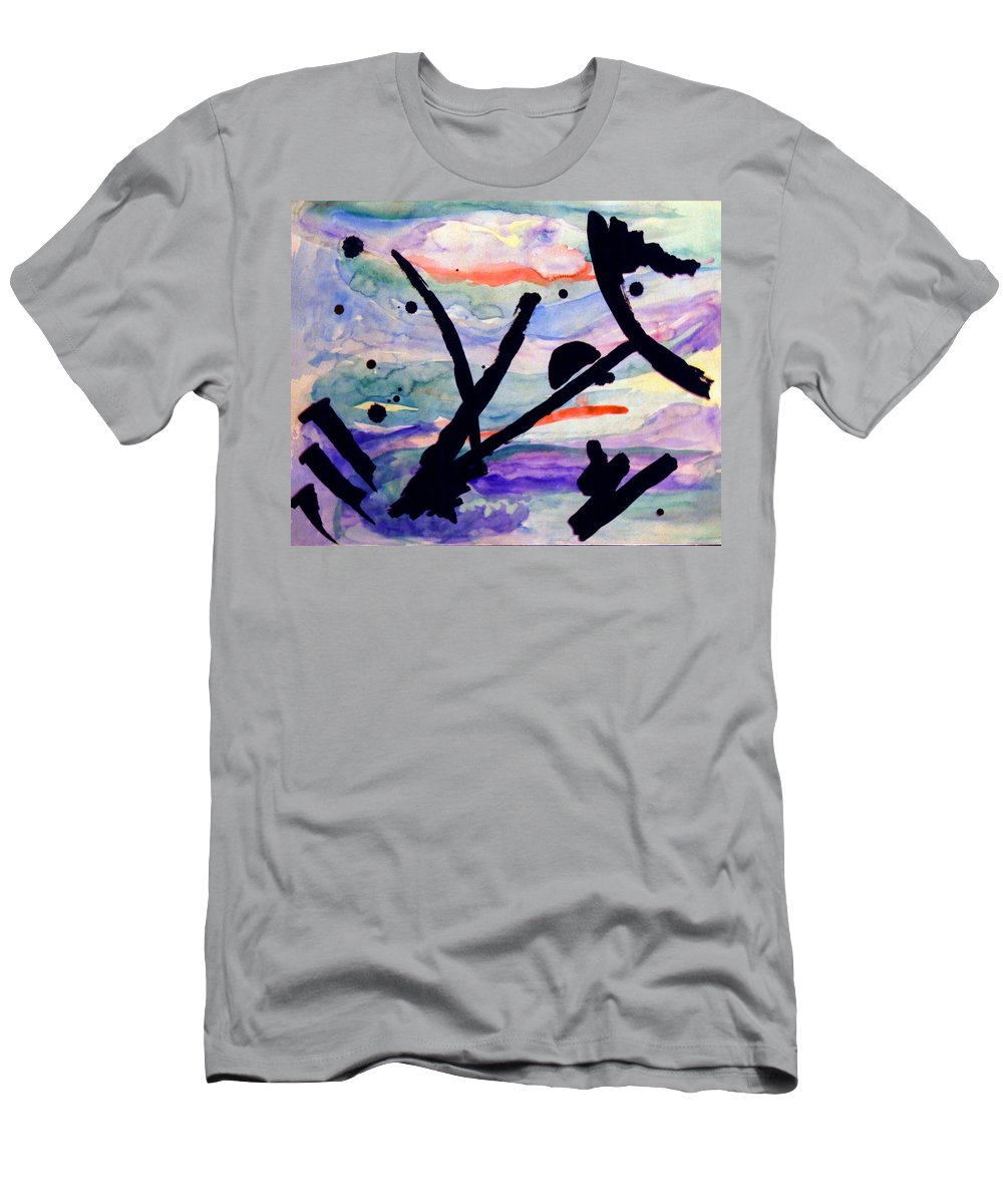 Abstract Men's T-Shirt (Athletic Fit) featuring the painting Asian Impression by Steve Karol