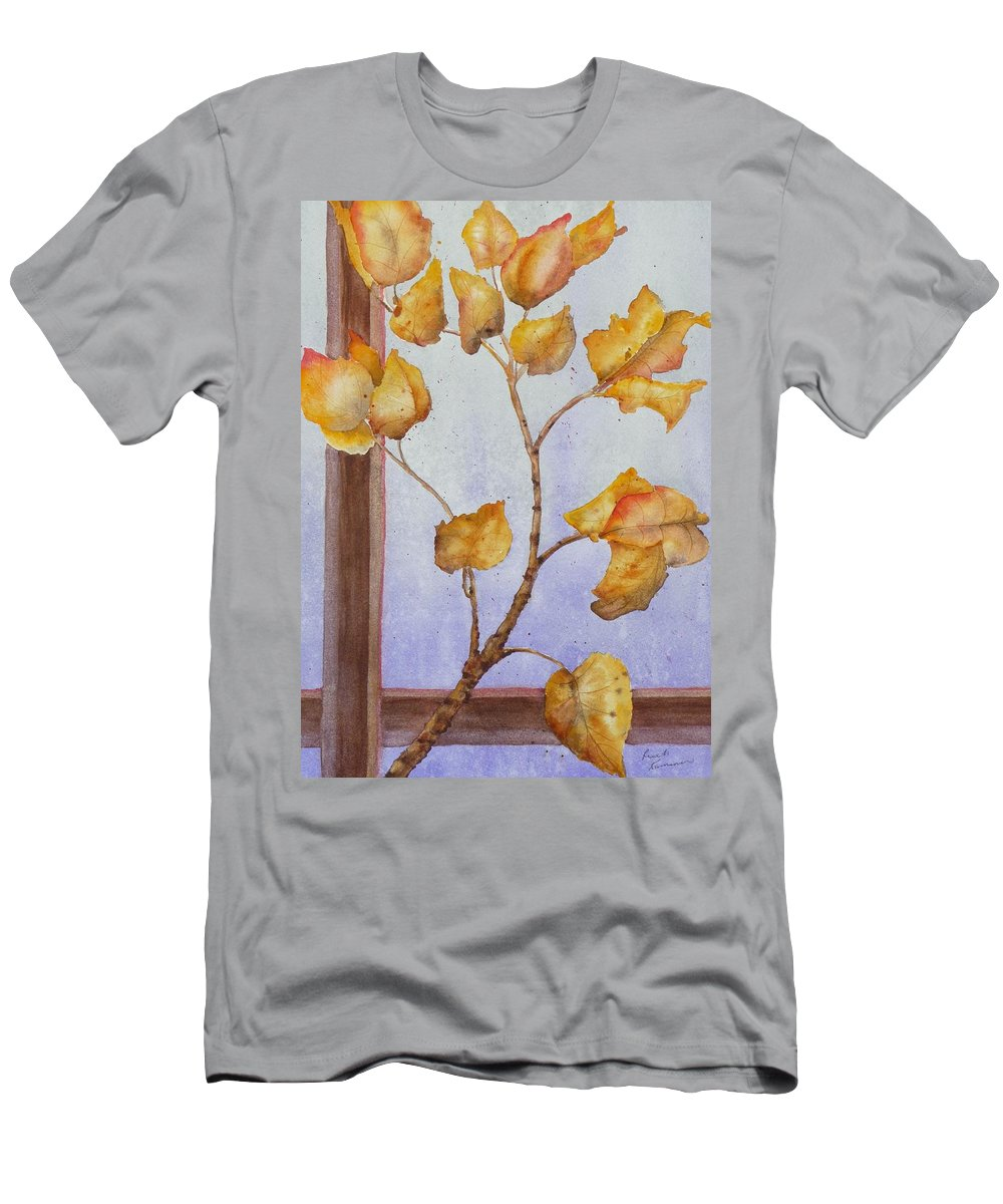 Leaves Men's T-Shirt (Athletic Fit) featuring the painting Aspen by Ruth Kamenev