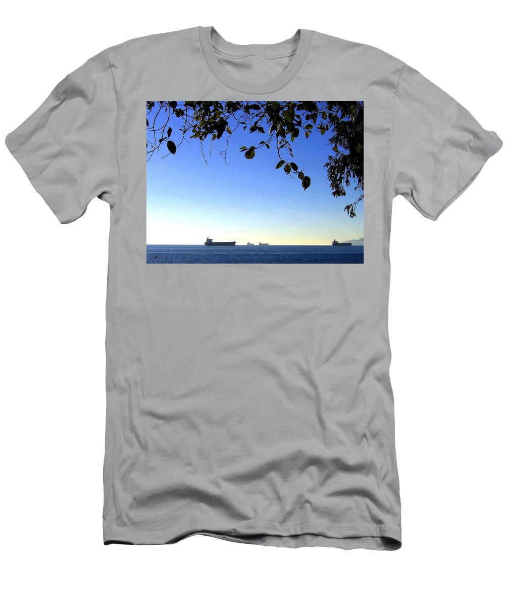 Freighters Men's T-Shirt (Athletic Fit) featuring the photograph At Anchor by Will Borden