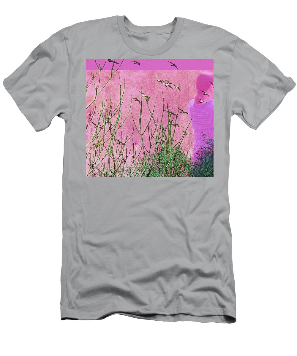 Abstract Men's T-Shirt (Athletic Fit) featuring the photograph At One With The Birds by Lenore Senior