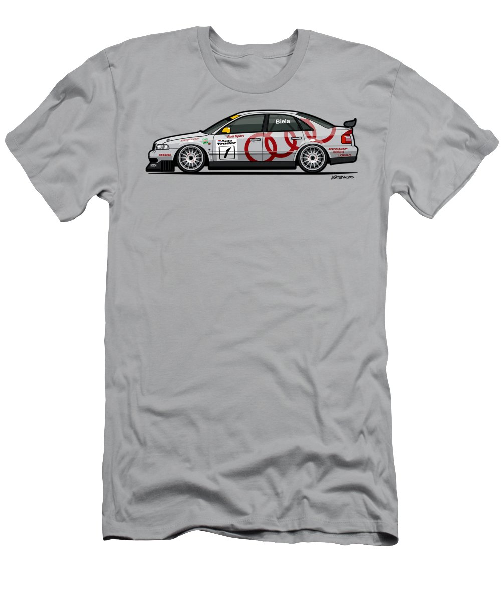 Car Men's T-Shirt (Athletic Fit) featuring the mixed media Audi A4 Quattro B5 Btcc Super Touring by Monkey Crisis On Mars