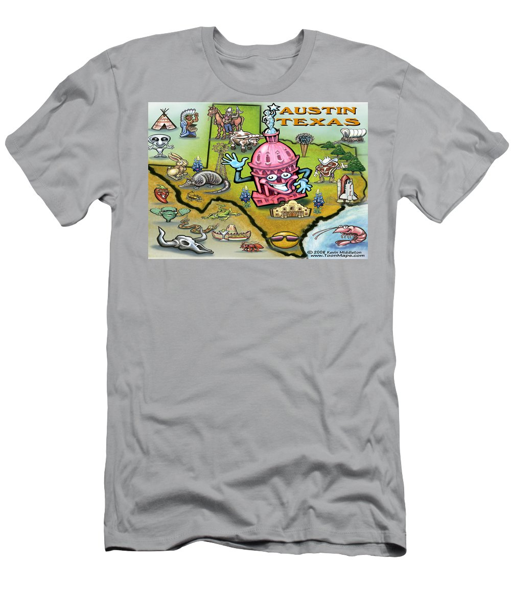 Austin Men's T-Shirt (Athletic Fit) featuring the digital art Austin Texas Cartoon Map by Kevin Middleton