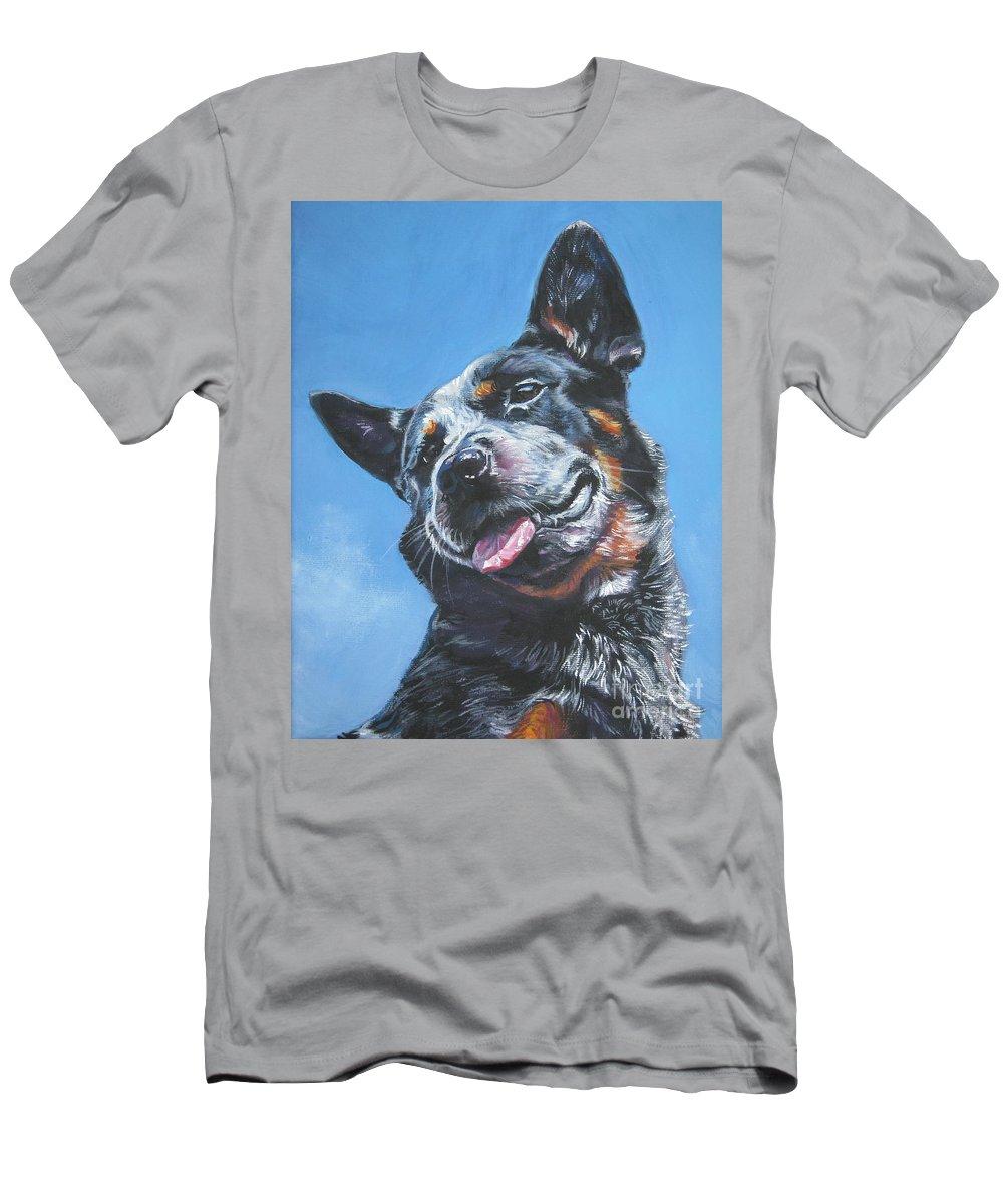 Australian Cattle Dog Men's T-Shirt (Athletic Fit) featuring the painting Australian Cattle Dog 2 by Lee Ann Shepard