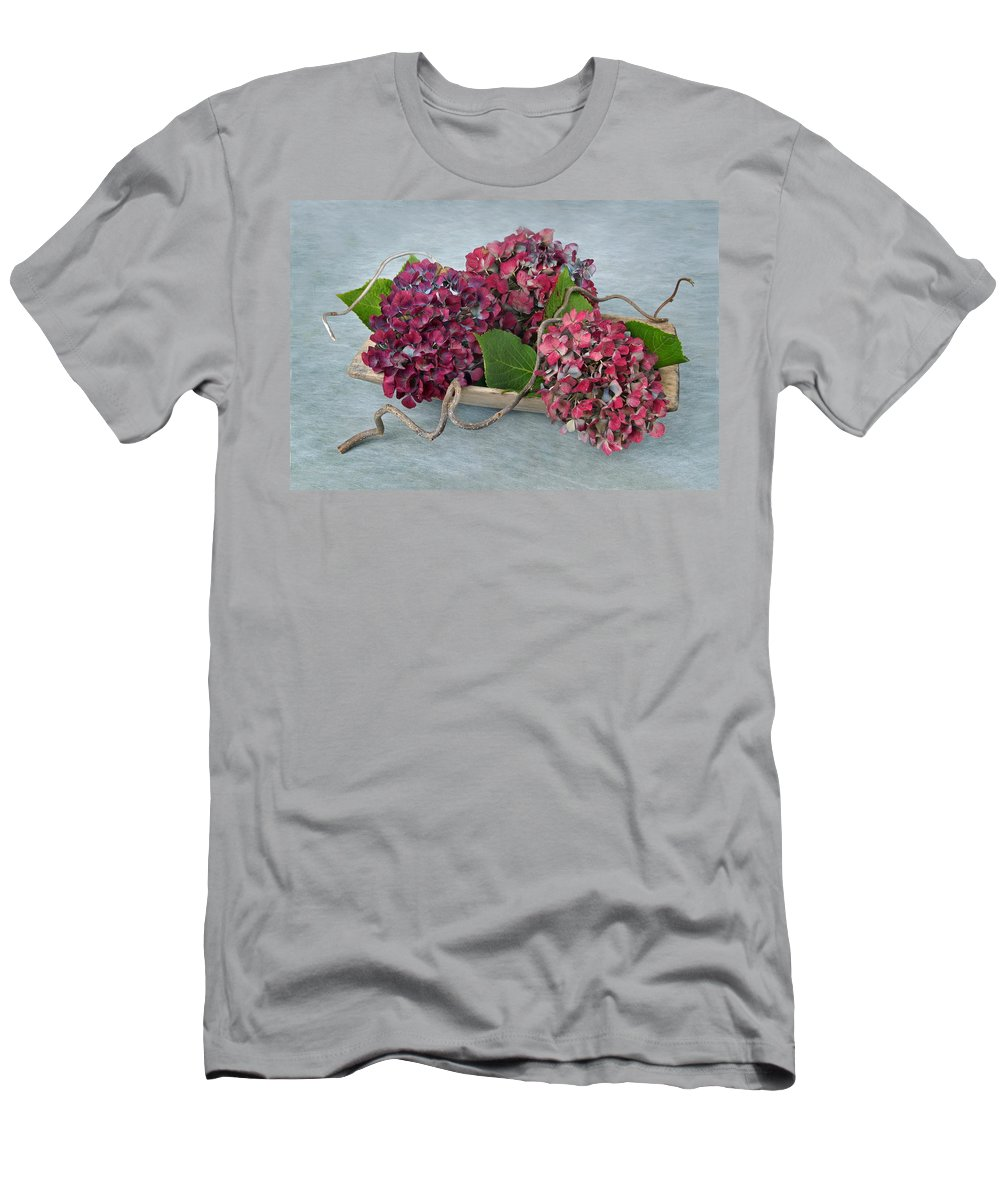 Hydrangea Men's T-Shirt (Athletic Fit) featuring the photograph Autumn Colors by Manfred Lutzius