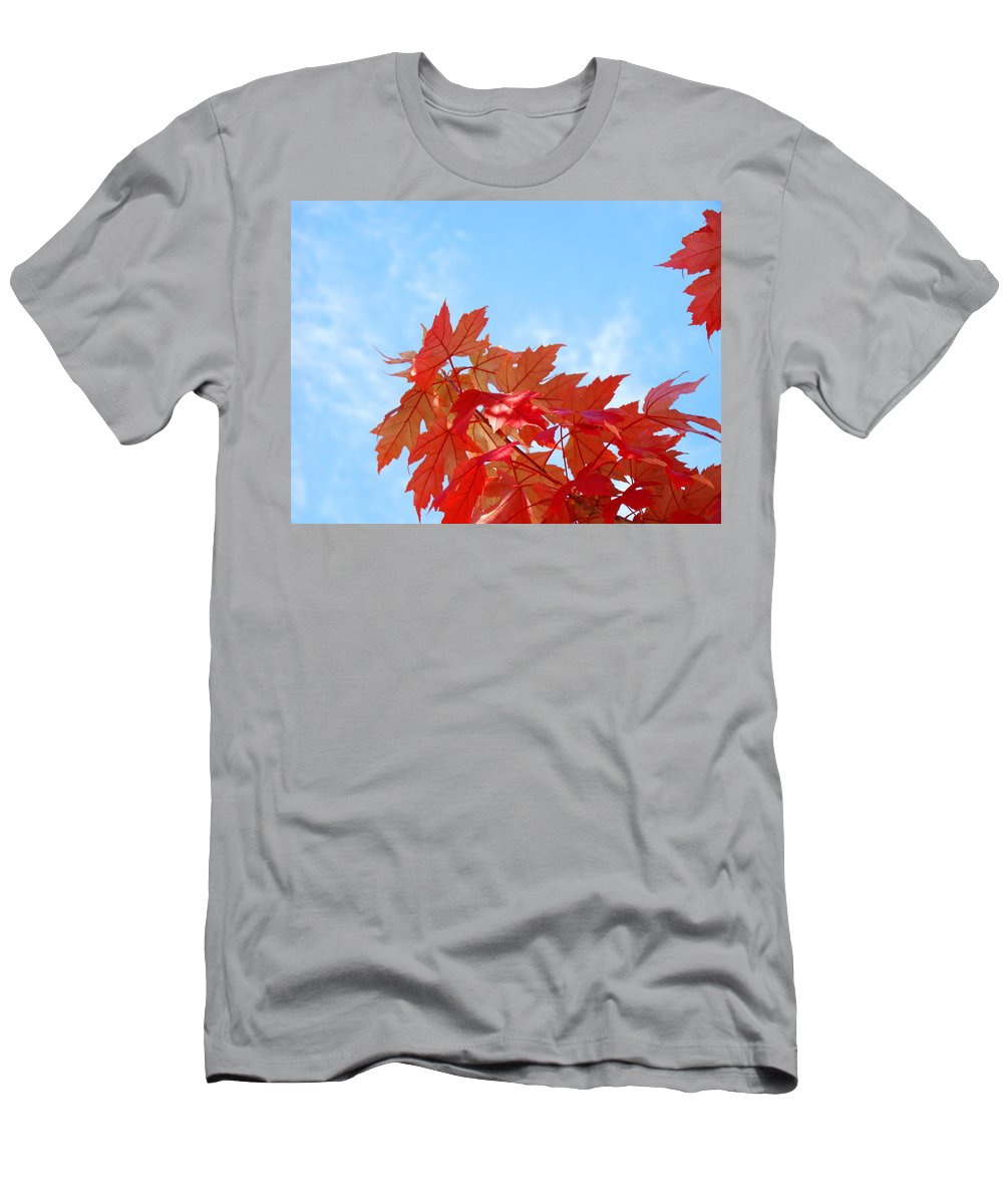 Autumn Men's T-Shirt (Athletic Fit) featuring the photograph Autumn Landscape Fall Leaves Blue Sky White Clouds Baslee by Baslee Troutman