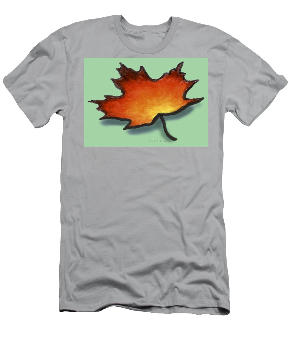 Leaf Men's T-Shirt (Athletic Fit) featuring the greeting card Autumn Leaf by Kevin Middleton
