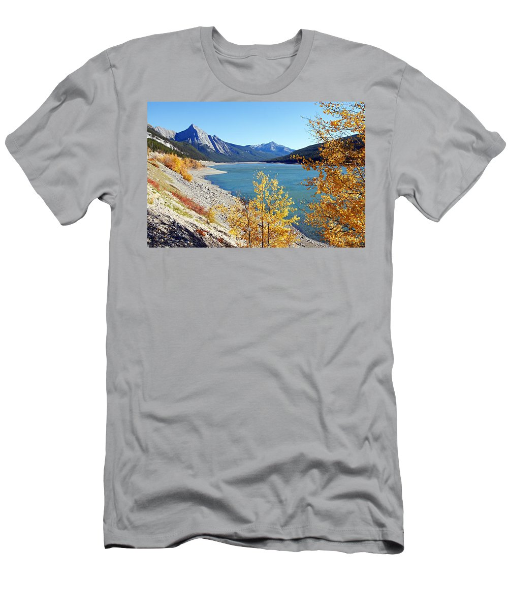 Medicine Lake Men's T-Shirt (Athletic Fit) featuring the photograph Autumn Medicine by Larry Ricker