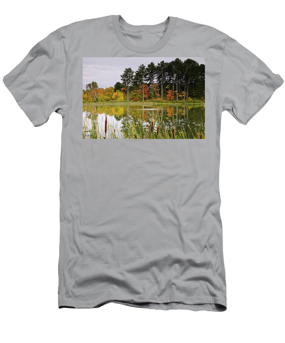 Fine Art Men's T-Shirt (Athletic Fit) featuring the photograph Autumn Pond by Phill Doherty