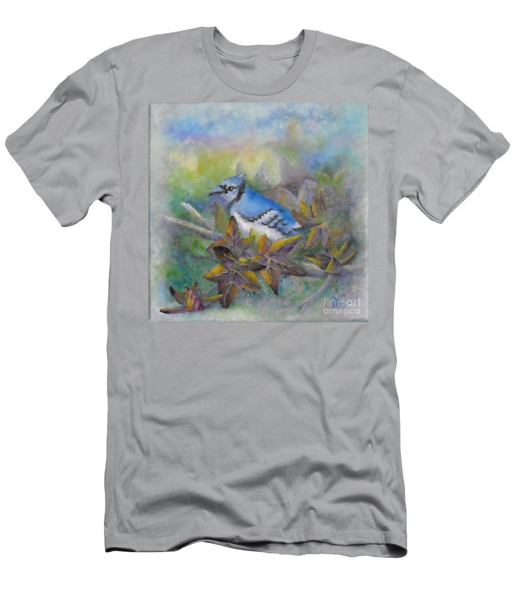 Autumn Men's T-Shirt (Athletic Fit) featuring the painting Autumn Sweet Gum With Blue Jay by Sheri Hubbard