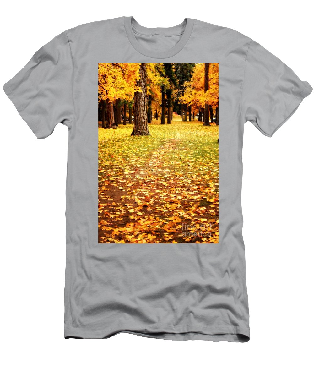 Autumn Men's T-Shirt (Athletic Fit) featuring the photograph Autumn Walk In Spokane by Carol Groenen