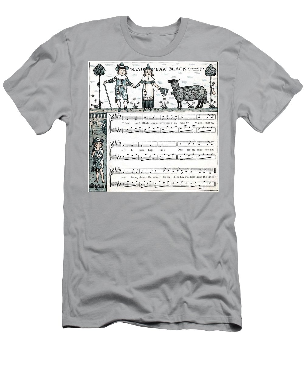 Baa Baa Black Sheep Men's T-Shirt (Athletic Fit) featuring the photograph Baa Baa Black Sheep Antique Music Score by Anne Kitzman