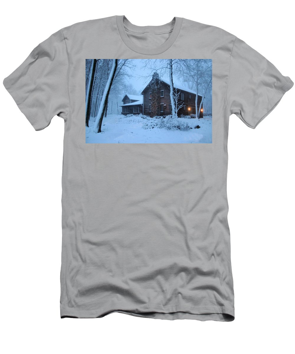 Logs Men's T-Shirt (Athletic Fit) featuring the photograph Baby Its Cold Outside by Kristin Elmquist