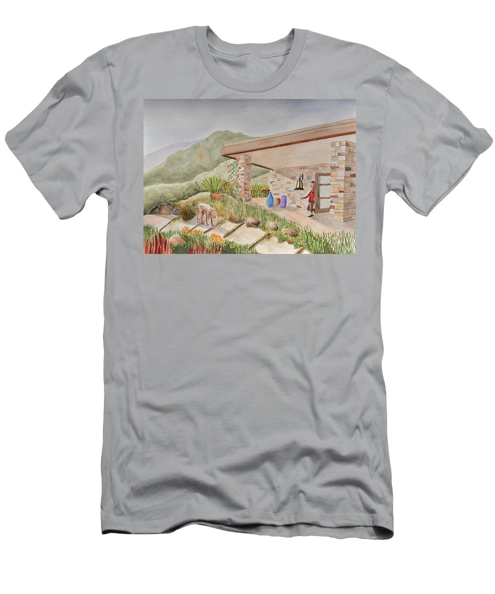 Linda Brody Men's T-Shirt (Athletic Fit) featuring the painting Back Patio by Linda Brody
