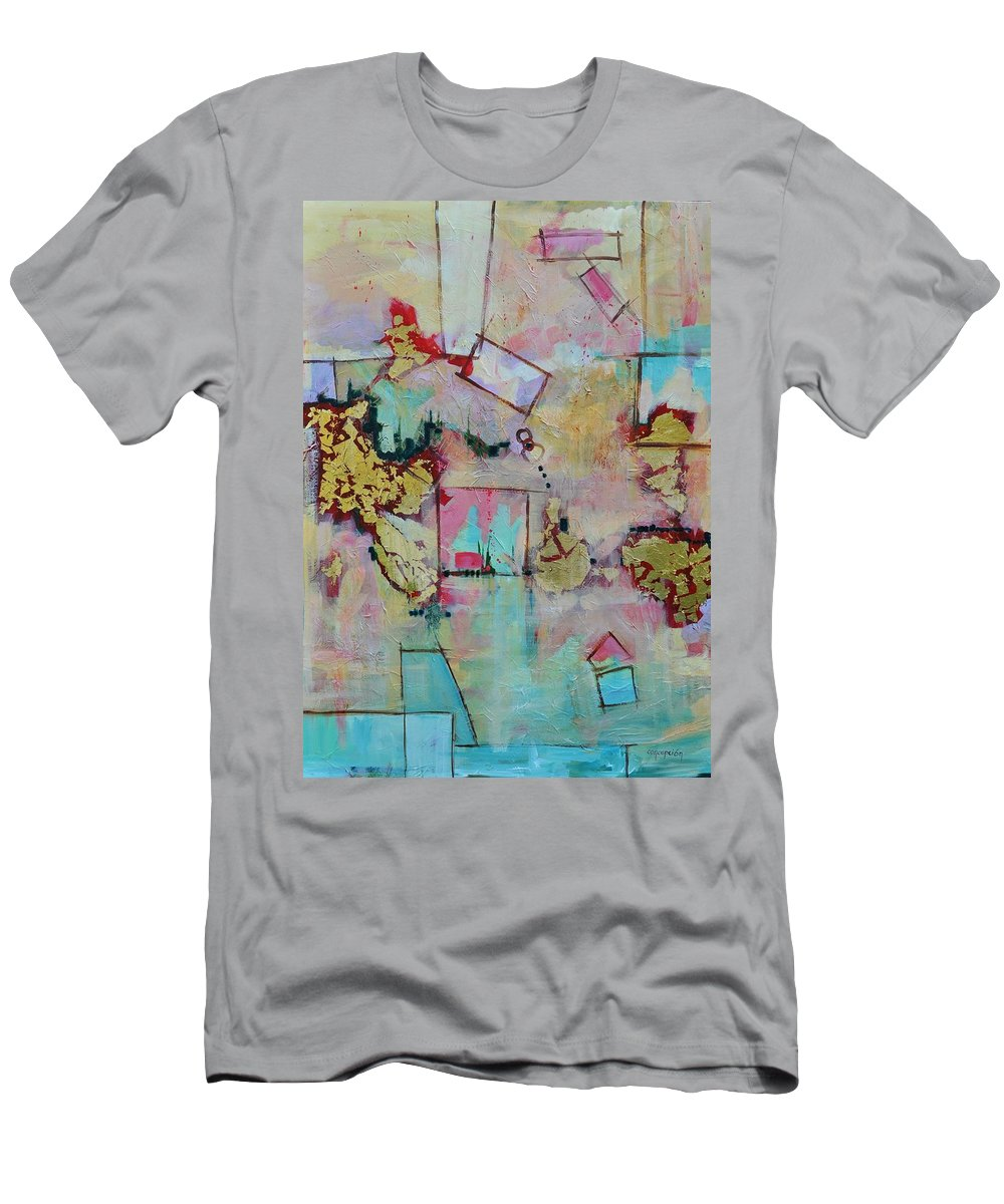 Geometric Abstract T-Shirt featuring the painting BadaBoom by Ginger Concepcion