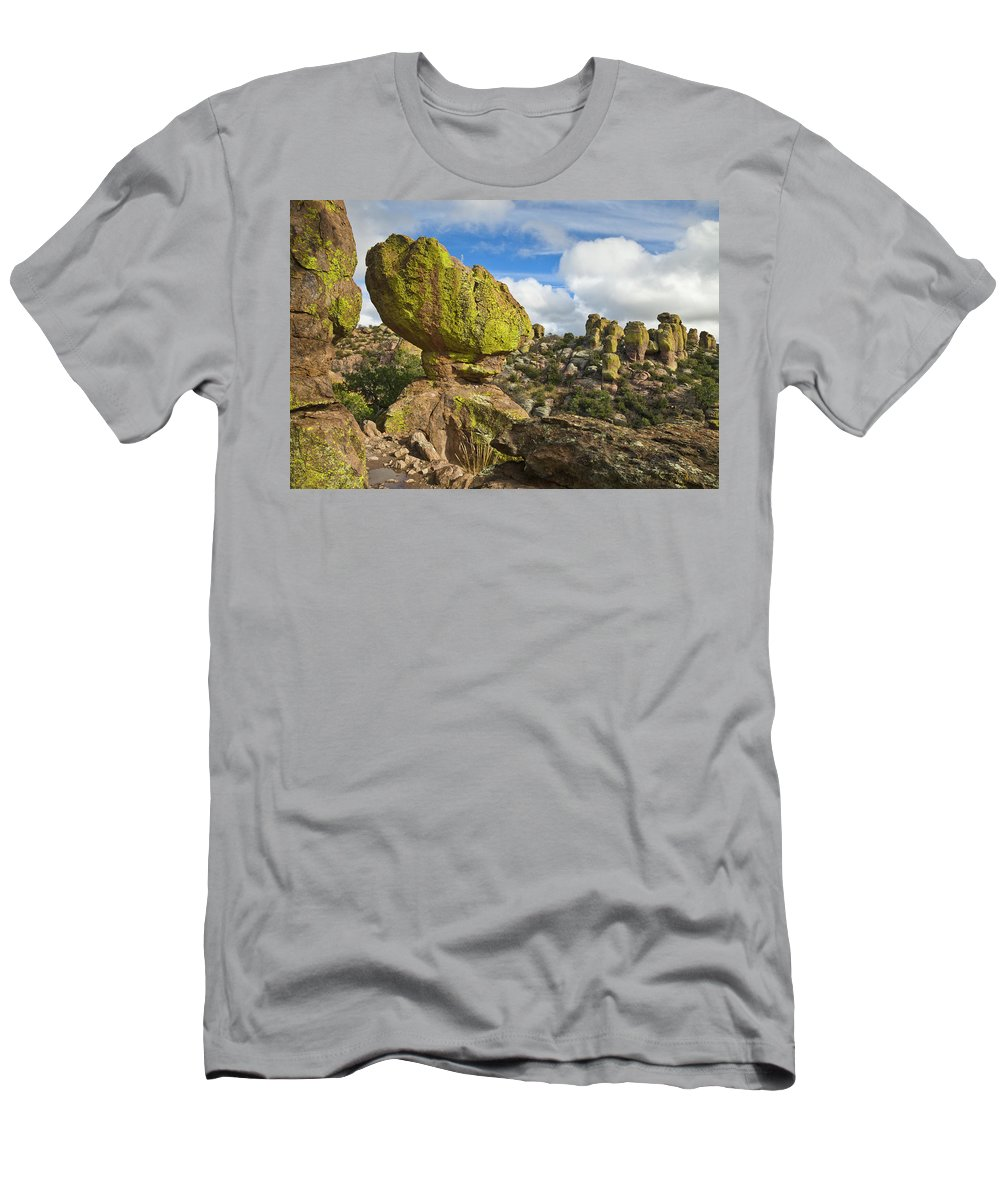 00559301 Men's T-Shirt (Athletic Fit) featuring the photograph Balanced Rock Formation by Yva Momatiuk John Eastcott