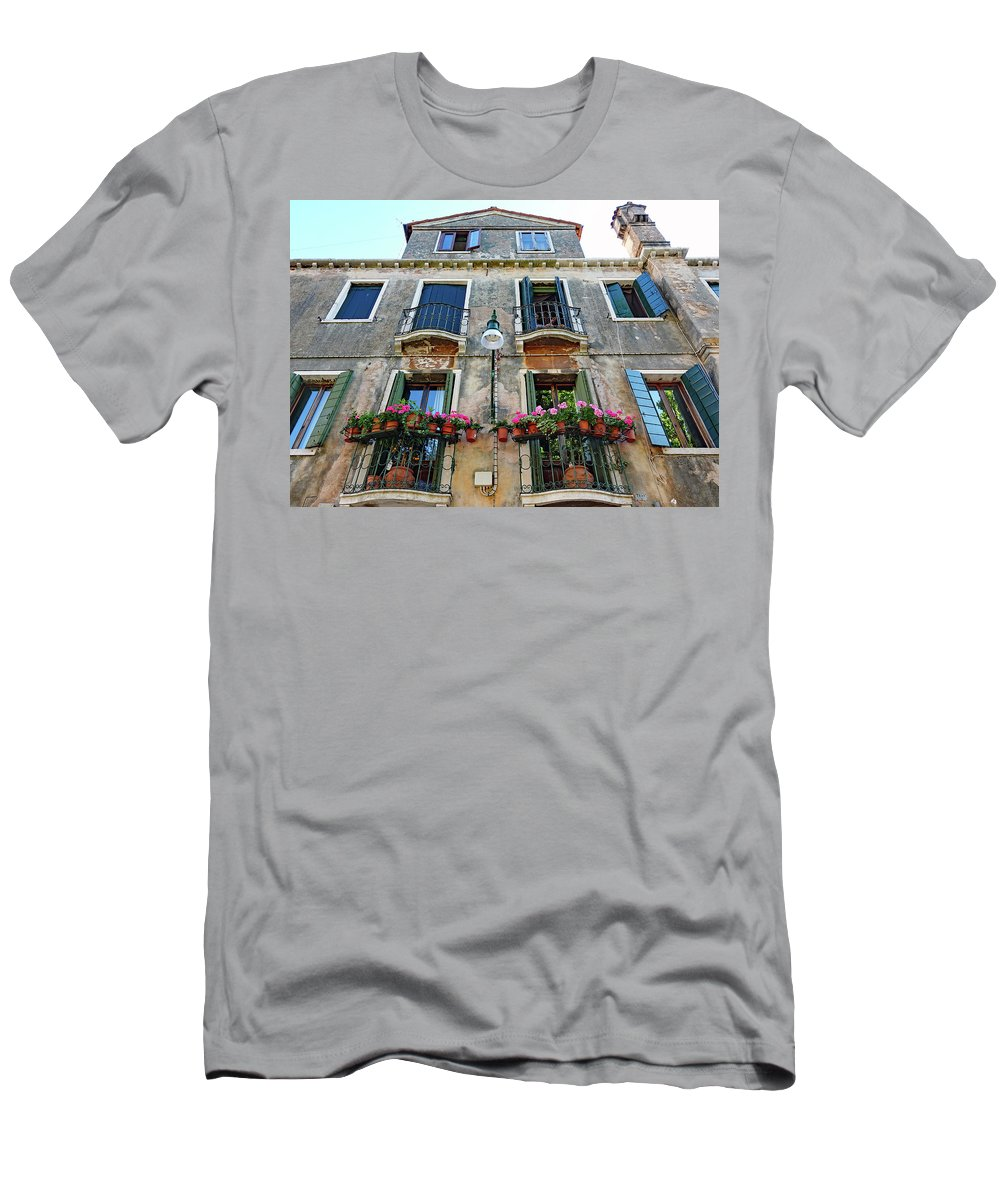 Shutters Men's T-Shirt (Athletic Fit) featuring the photograph Balcony With Flowers In Venice, Italy by Richard Rosenshein