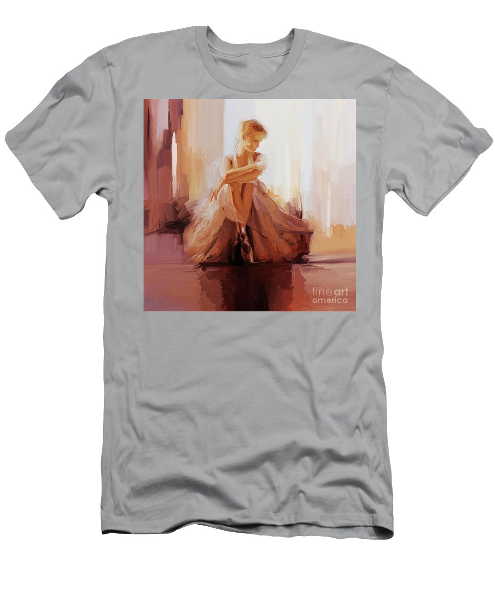 Ballerina T-Shirt featuring the painting Ballerina Dancer Sitting On The Floor 01 by Gull G