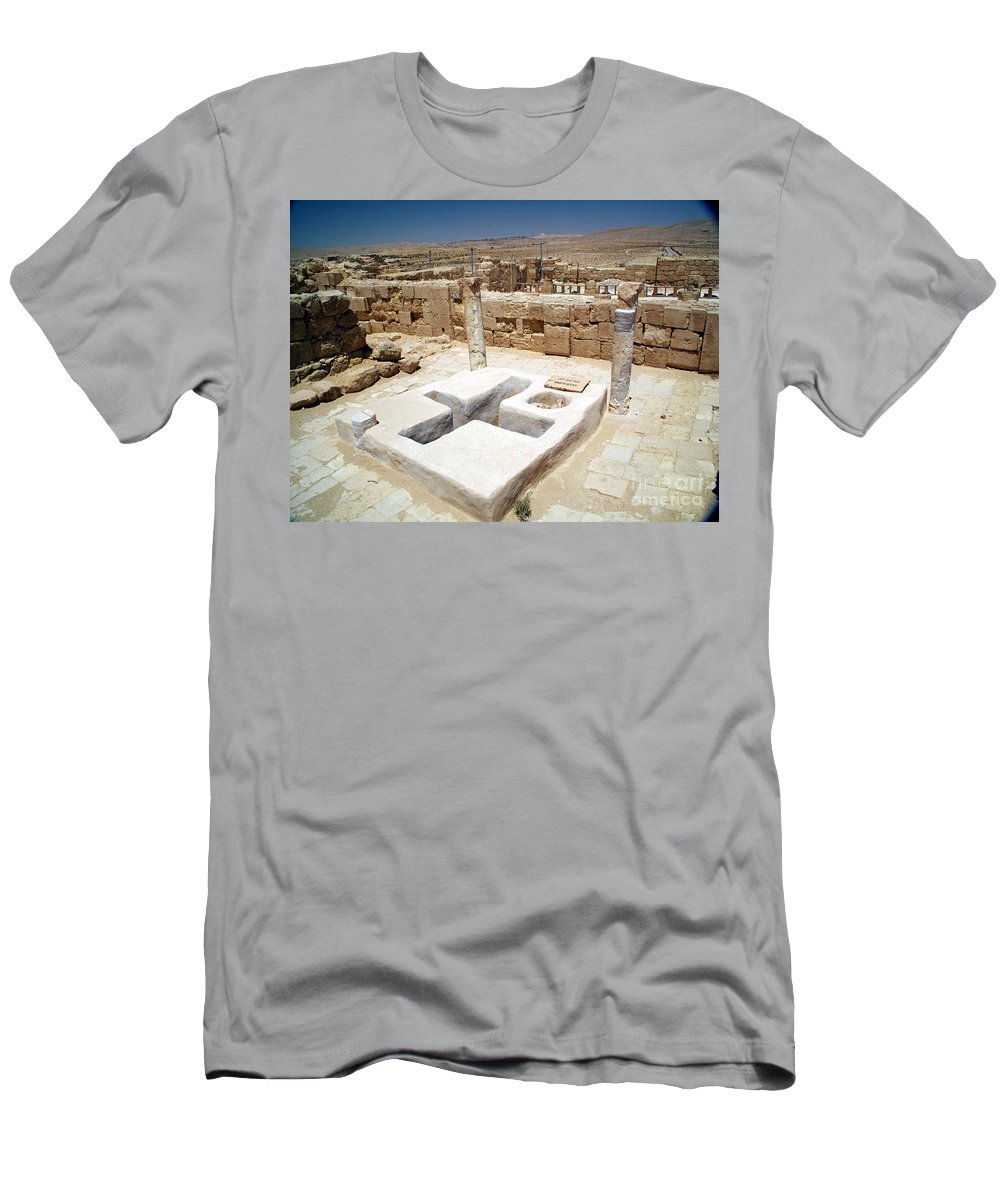 Baptistery Men's T-Shirt (Athletic Fit) featuring the photograph Baptistery Eastern Church Mamshit Israel by Avi Horovitz