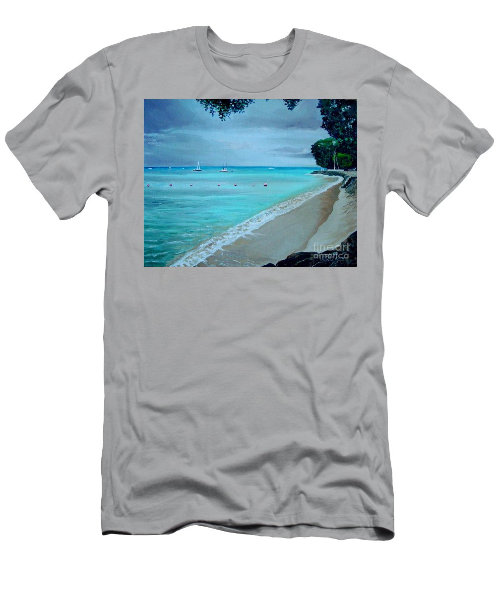Landscape Men's T-Shirt (Athletic Fit) featuring the painting Barbados by Elizabeth Robinette Tyndall