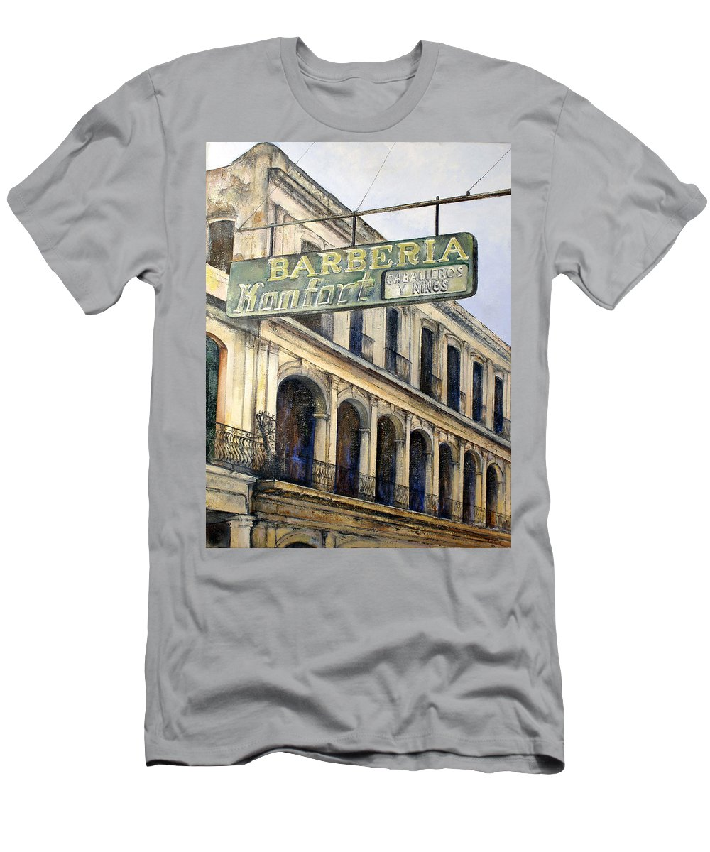 Konfort Barberia Old Havana Cuba Oil Painting Art Urban Cityscape Men's T-Shirt (Athletic Fit) featuring the painting Barberia Konfort by Tomas Castano