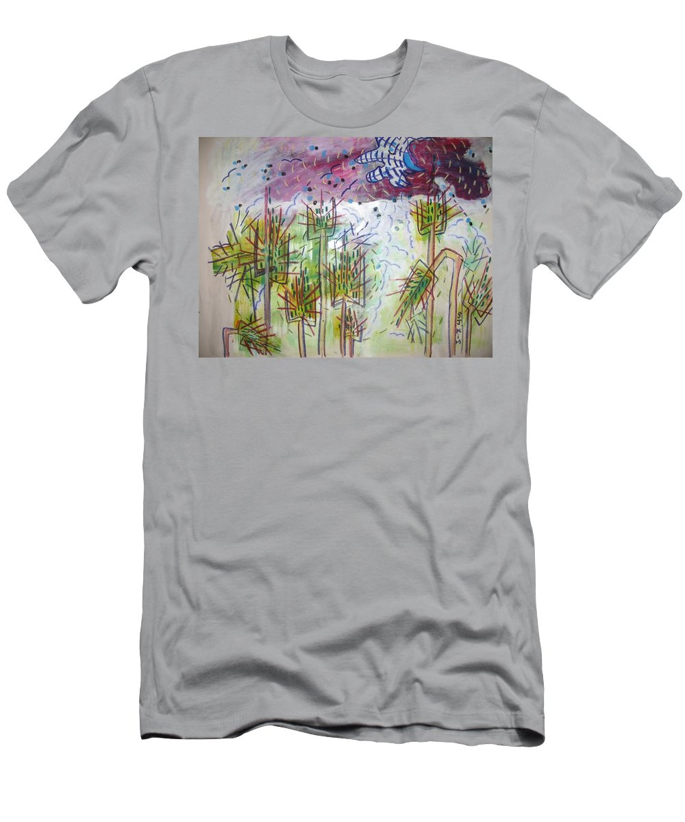 Barly Paintings Men's T-Shirt (Athletic Fit) featuring the painting Barly And The Blue Moon by Seon-Jeong Kim