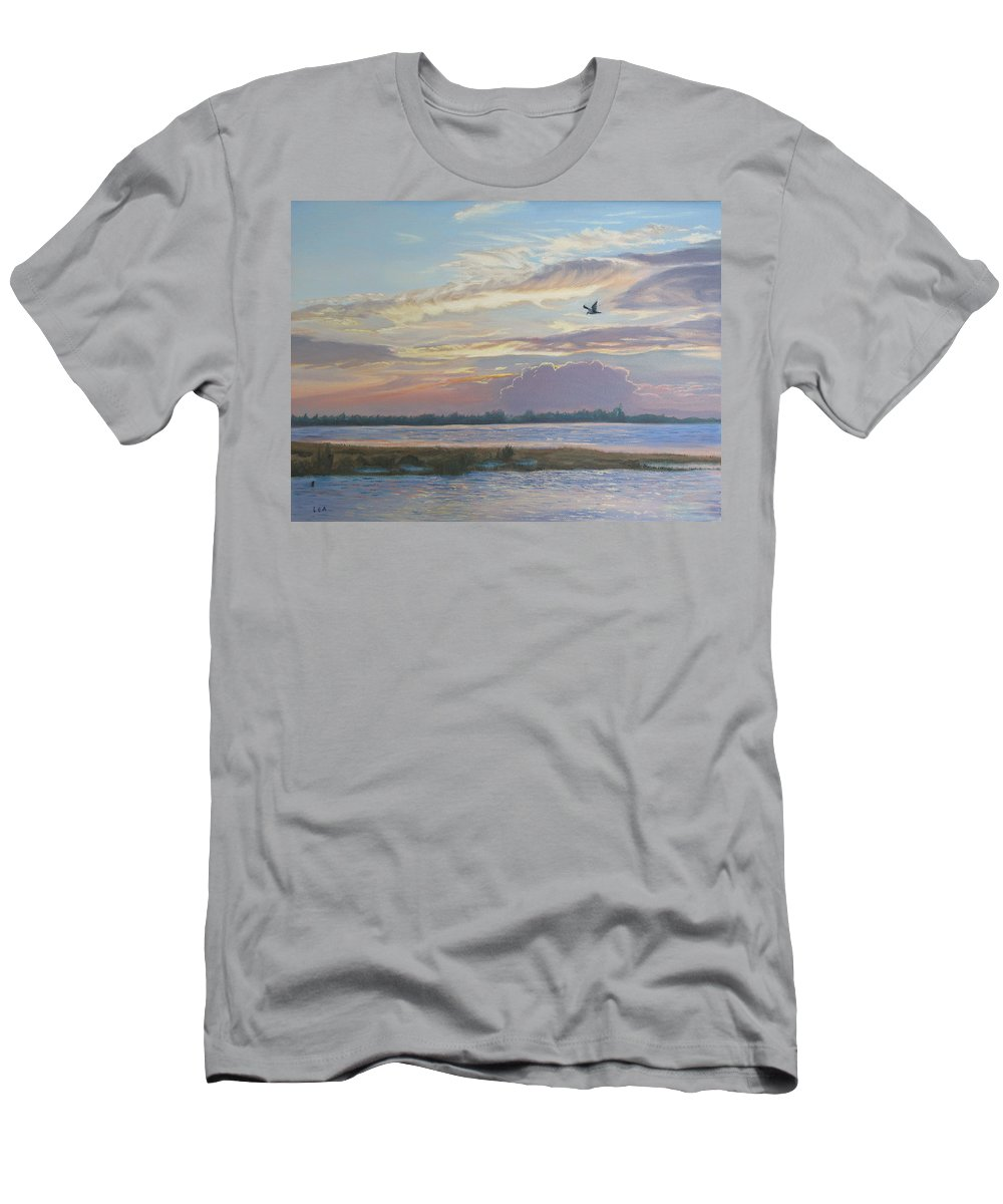 Sunset Painting Men's T-Shirt (Athletic Fit) featuring the painting Barnegat Bay At Sunset by Lea Novak