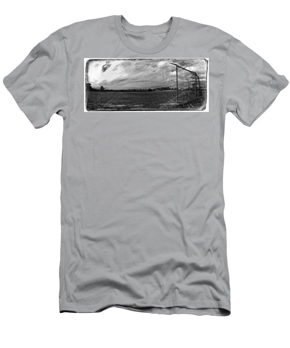 B&w Men's T-Shirt (Athletic Fit) featuring the photograph Baseball Backstop by Noel Baebler