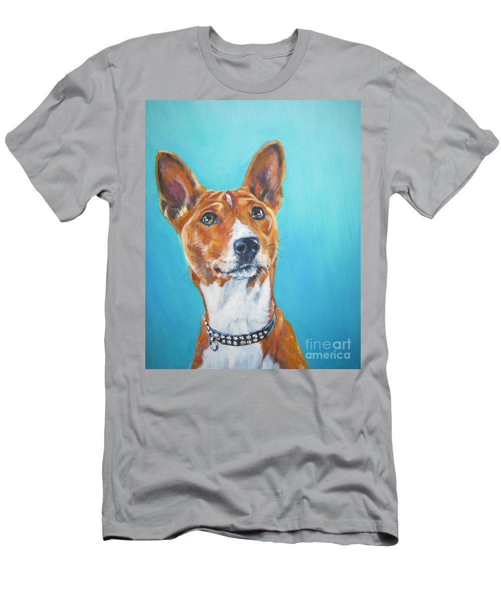 Basenji Men's T-Shirt (Athletic Fit) featuring the painting Basenji by Lee Ann Shepard