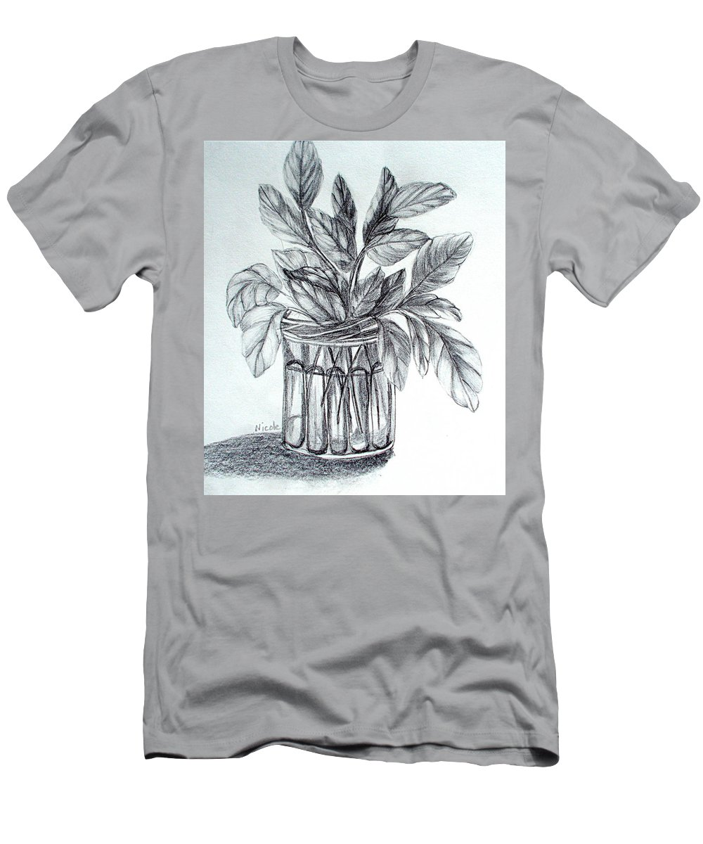 Basil Men's T-Shirt (Athletic Fit) featuring the drawing Basil by Nicole Curreri