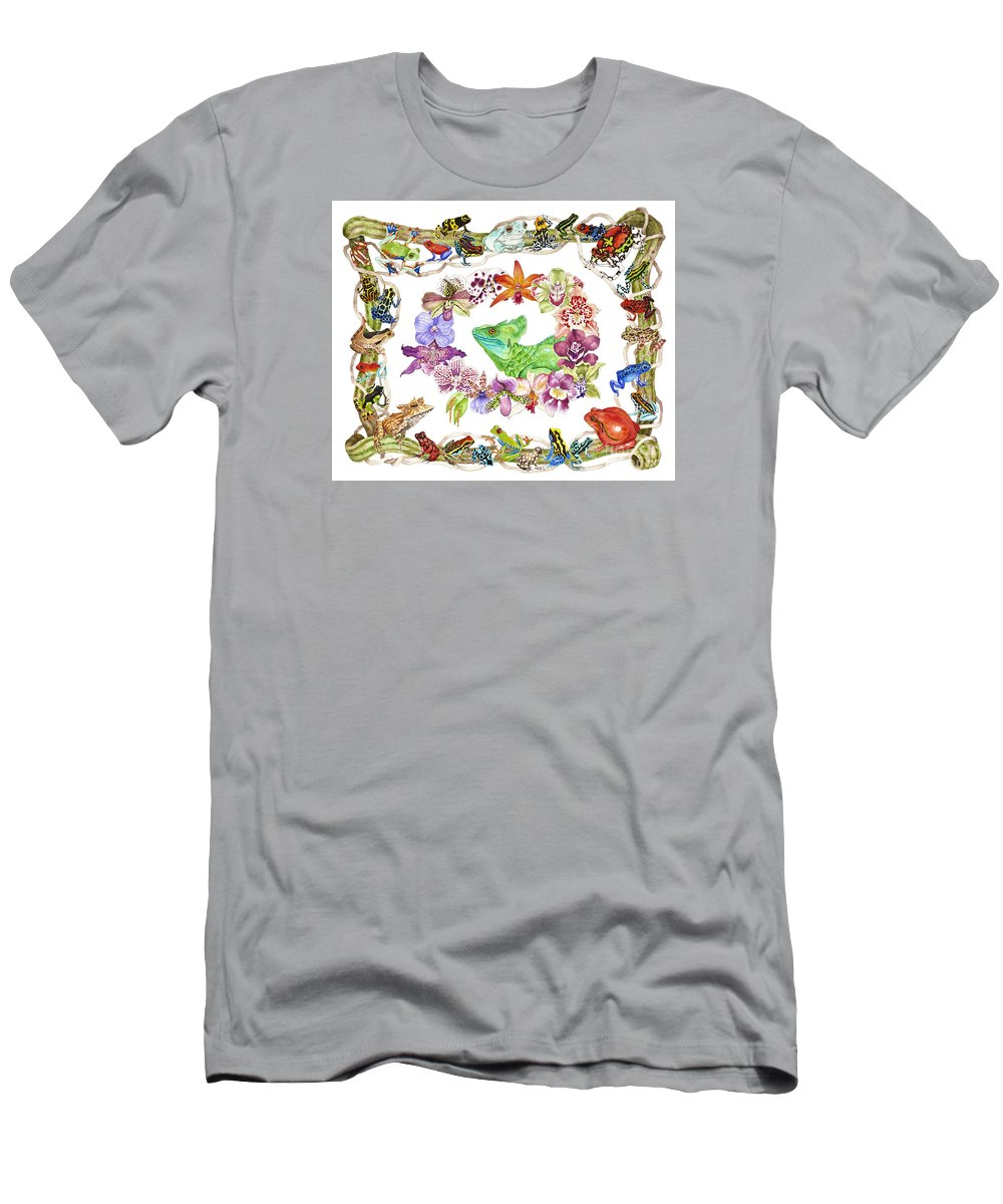 Frogs T-Shirt featuring the painting Basilisk, Orchids, Frogs by Lucy Arnold