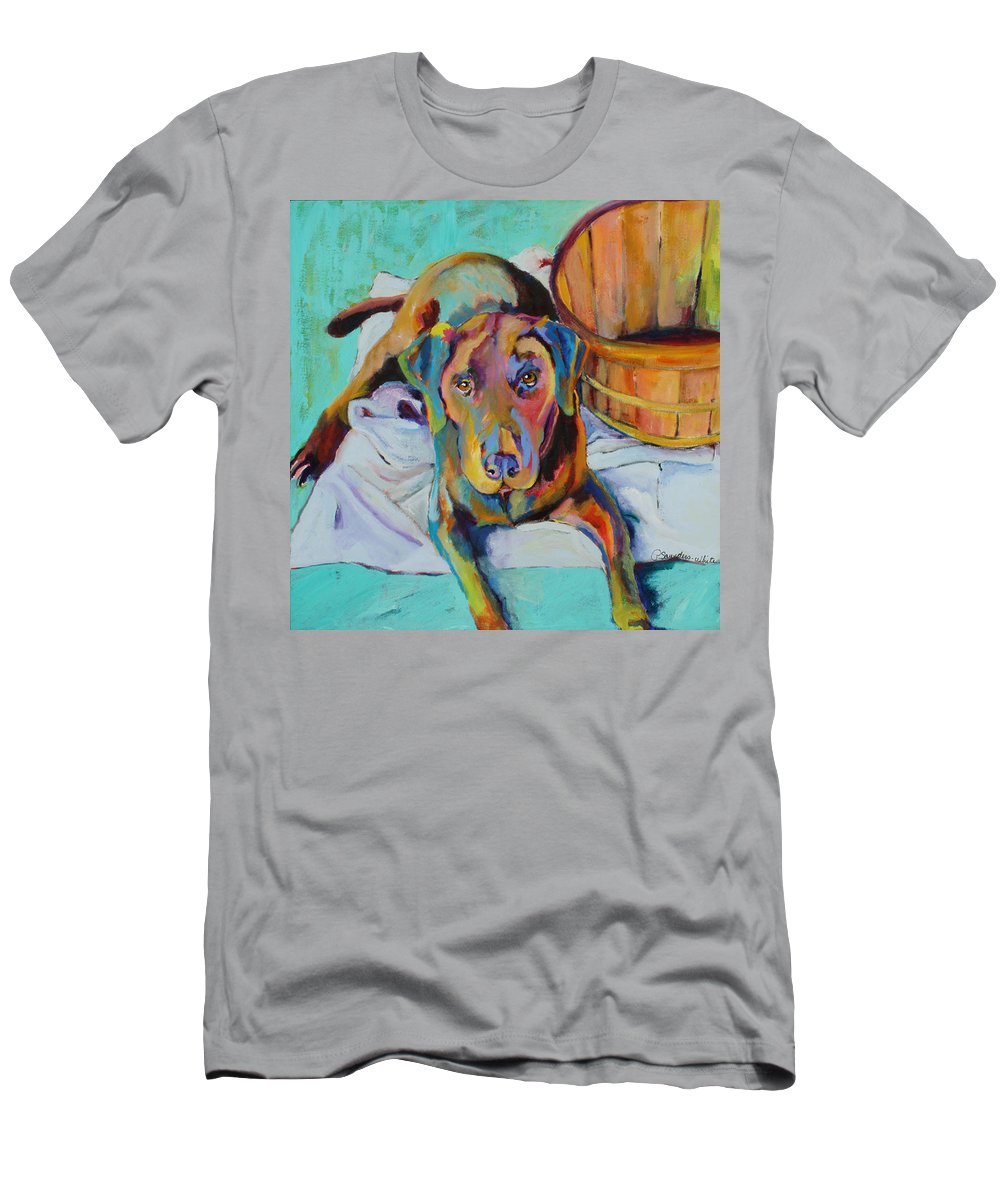 Chocolate Lab Men's T-Shirt (Athletic Fit) featuring the painting Basket Retriever by Pat Saunders-White