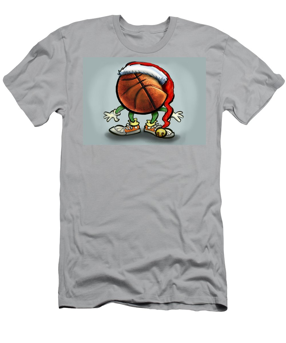 Basketball Men's T-Shirt (Athletic Fit) featuring the greeting card Basketball Christmas by Kevin Middleton