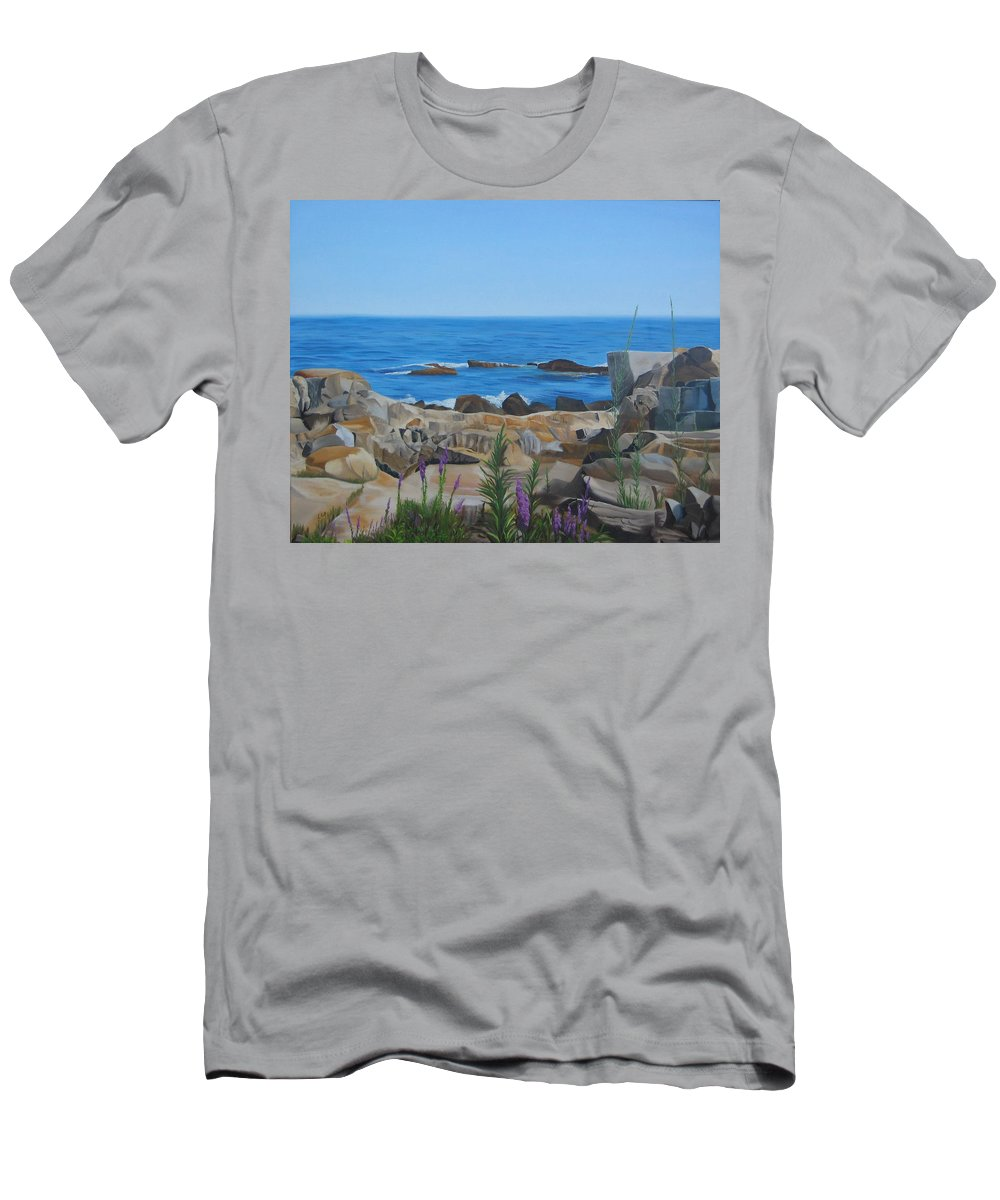 Seascape Men's T-Shirt (Athletic Fit) featuring the painting Bass Rocks Gloucester by Lea Novak