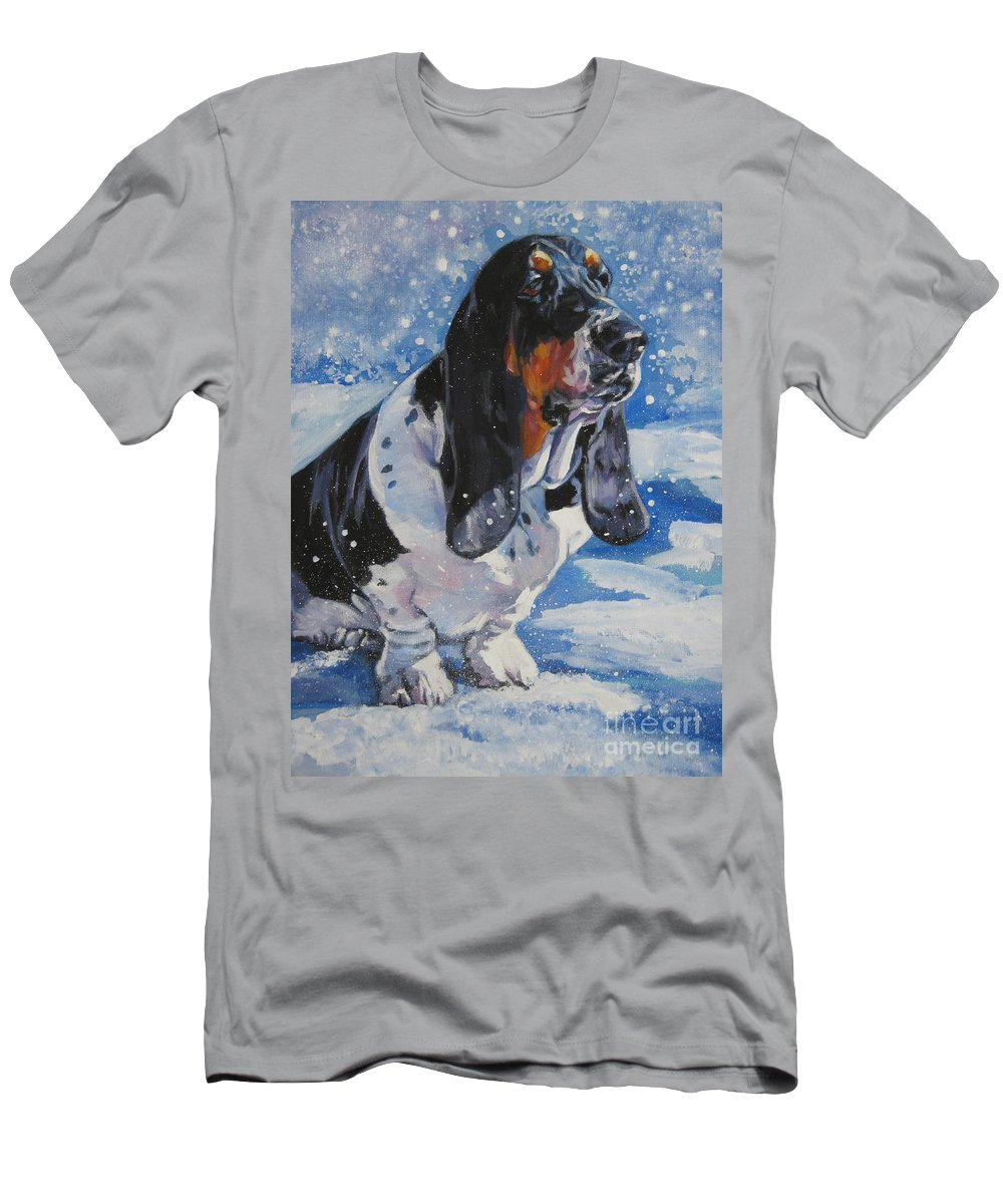 Dog Men's T-Shirt (Athletic Fit) featuring the painting basset Hound in snow by Lee Ann Shepard