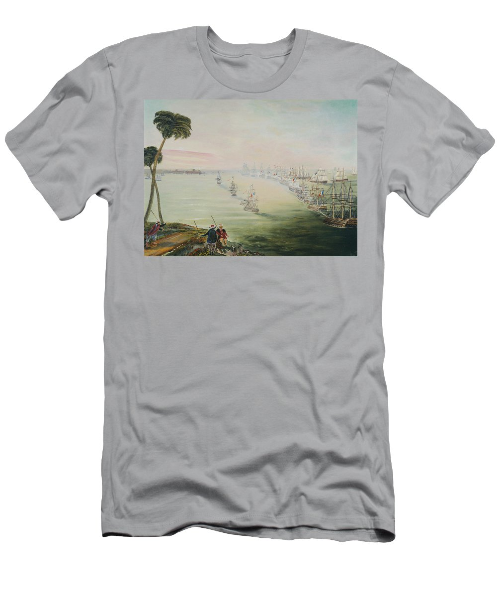 Sea Battle T-Shirt featuring the painting Battle Of The Nile by Richard Barham