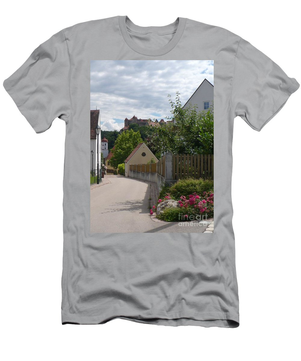 Castle Men's T-Shirt (Athletic Fit) featuring the photograph Bavarian Village With Castle View by Carol Groenen