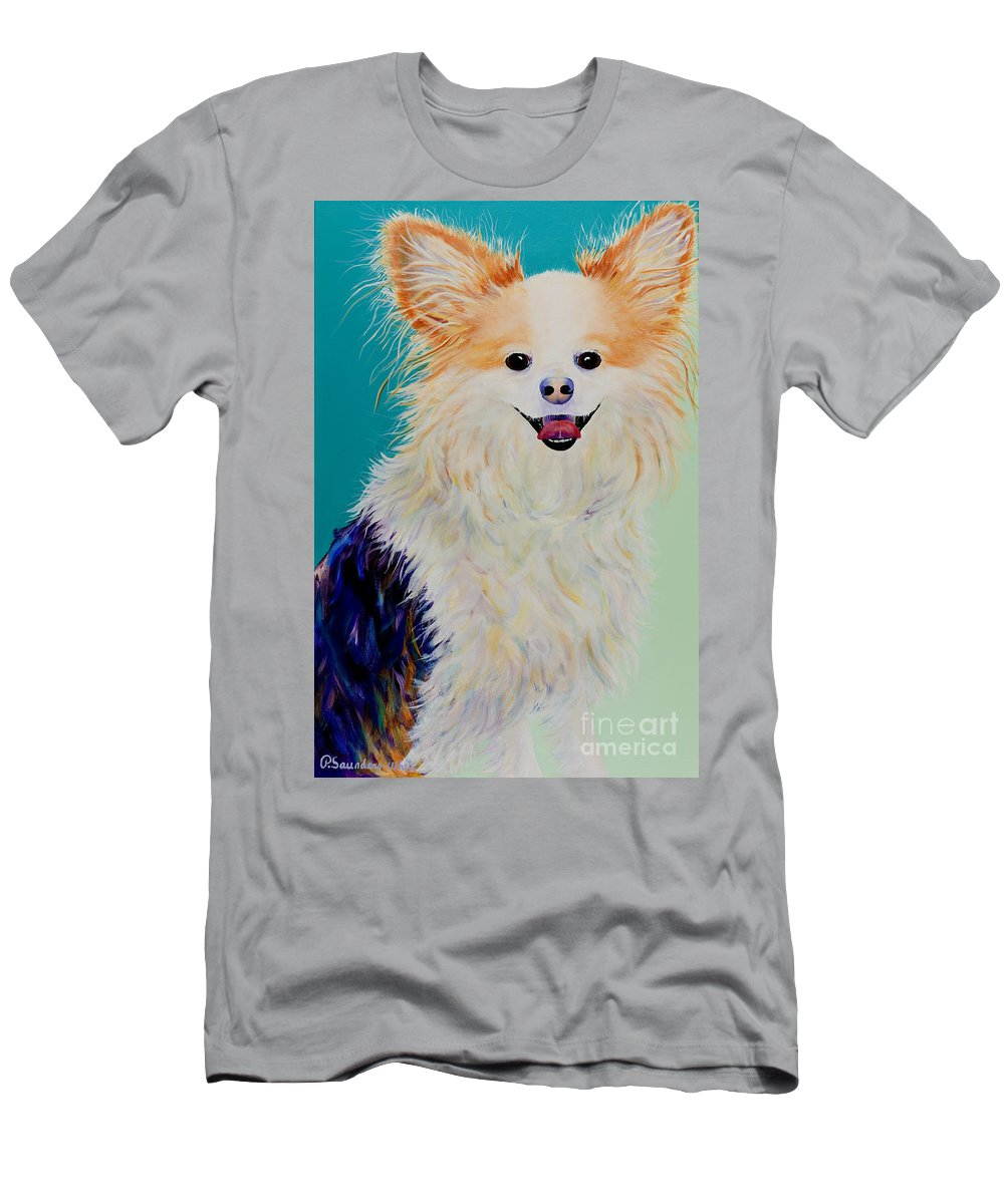 Animal Men's T-Shirt (Athletic Fit) featuring the painting Baxter by Pat Saunders-White