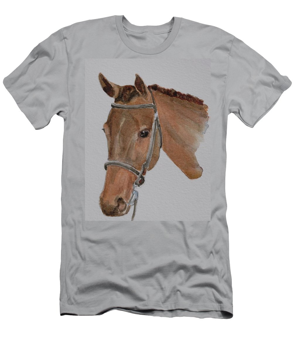 Horse Men's T-Shirt (Athletic Fit) featuring the painting Bay Hunt by Gretchen Bjornson